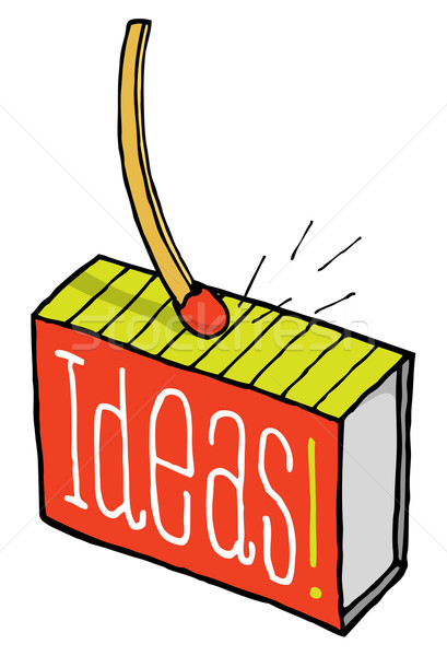 Gyufa szikrák ötlet doboz siker rajz Stock fotó © curvabezier