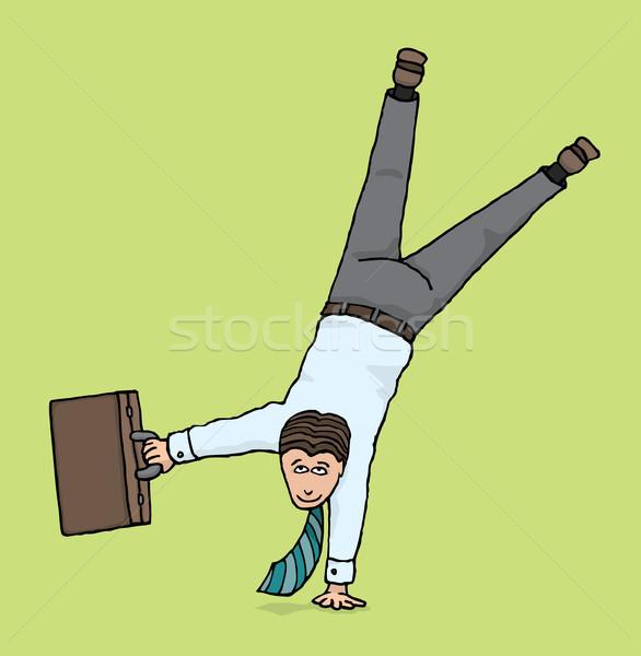 Agilis üzletember üzlet fejjel lefelé egyensúly portfólió Stock fotó © curvabezier