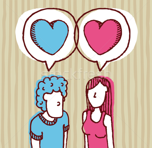 Couple in love / Two hearts Stock photo © curvabezier
