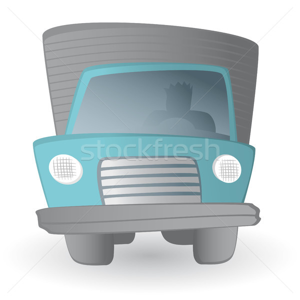 Desenho animado caminhão motorista terra transporte veículo Foto stock © curvabezier