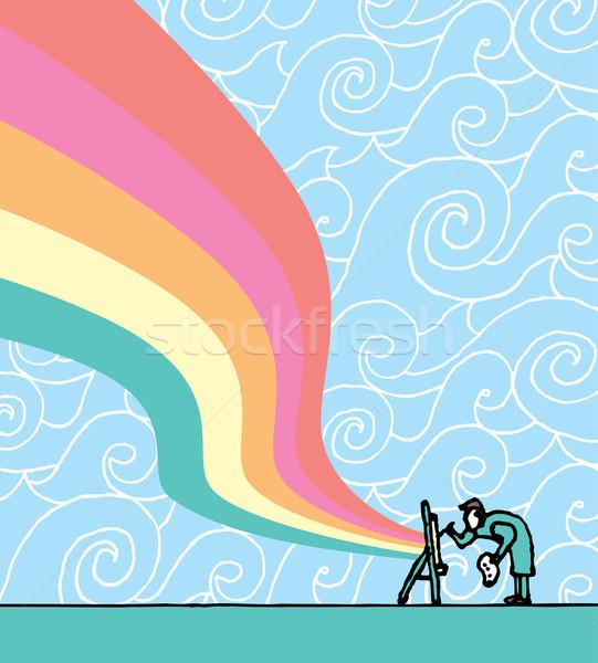 Artista pintura desenho animado pintor paleta vetor Foto stock © curvabezier