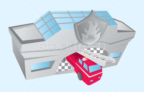 Fire truck coming out of fire department Stock photo © curvabezier