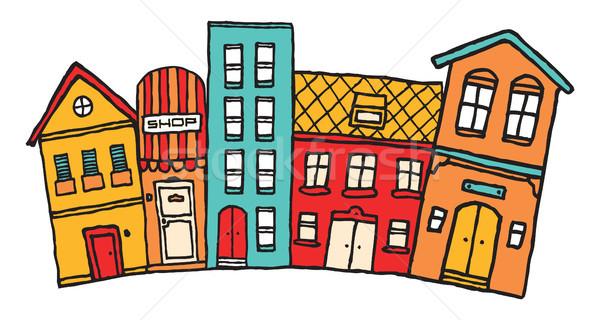Small cartoon town / Cute colorful neighborhood Stock photo © curvabezier