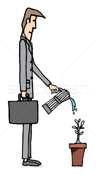 Businessman watering plant / Business growing Stock photo © curvabezier