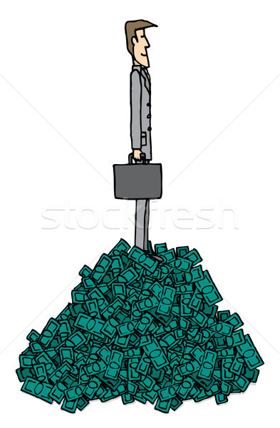 Rich businessman over pile of money / Succesful business Stock photo © curvabezier