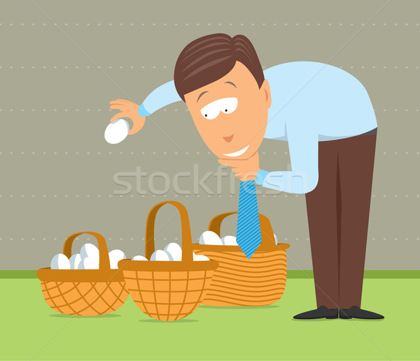 Putting eggs in different baskets Stock photo © curvabezier