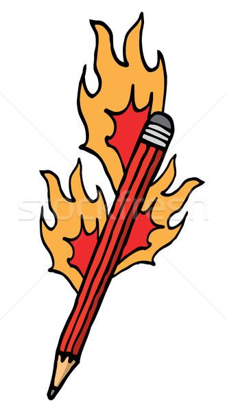 Desenho animado lápis fogo chama Foto stock © curvabezier