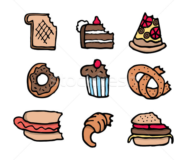 Cartoon bitten food set Stock photo © curvabezier
