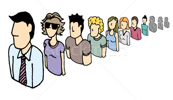 People vector icons team / Endless queue Stock photo © curvabezier