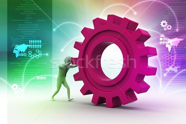 Сток-фото: 3d · человек · Gear · аннотация · энергии · работу