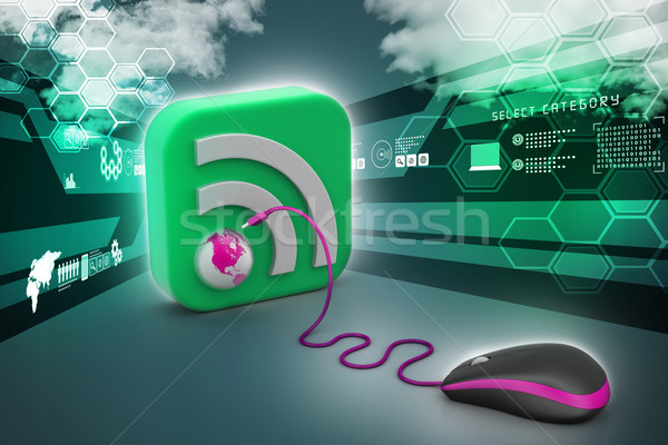 Foto stock: Mouse · de · computador · rss · ícone · internet · tecnologia · assinar