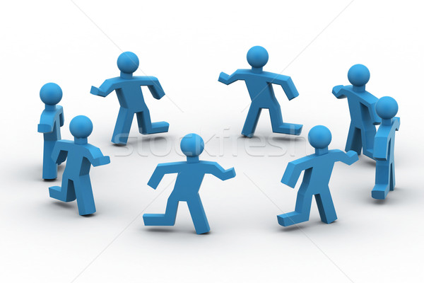 A group of people running around in circle Stock photo © cuteimage