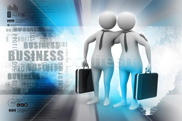 Deux gens d'affaires communiquer ensemble affaires bureau Photo stock © cuteimage