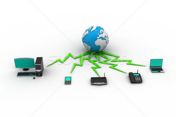 Ev ağ telefon dünya dizüstü bilgisayar teknoloji Stok fotoğraf © cuteimage