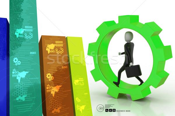 Homme d'affaires courir engins roues bureau travaux Photo stock © cuteimage