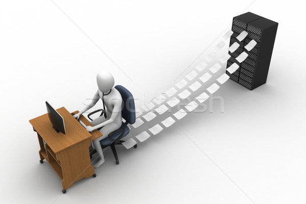 3d clerk working in the office Stock photo © cuteimage
