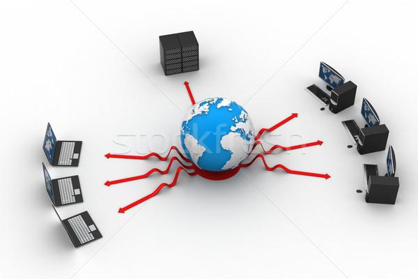 ноутбука большой сервер мира 3D изображение Сток-фото © cuteimage