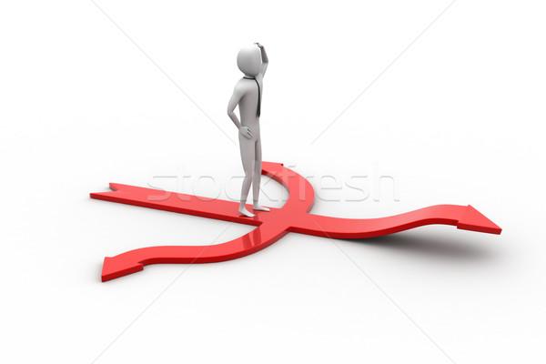 Stock fotó: 3D · kicsi · személy · áll · piros · nyilak