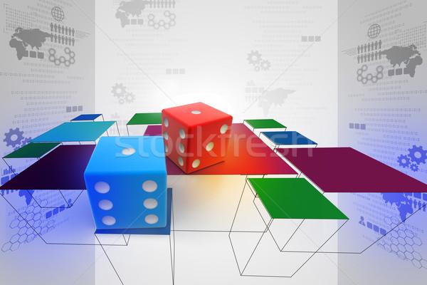 3D gekleurd kubus vak groene brief Stockfoto © cuteimage