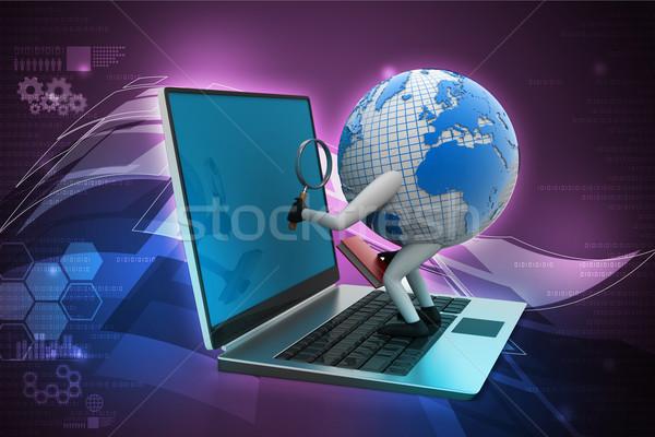 глобальный бизнеса стороны карта клавиатура земле Сток-фото © cuteimage