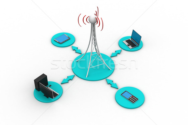Stock photo: Signal tower with networking