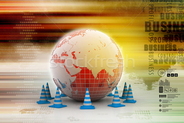 Globe and traffic cone Stock photo © cuteimage