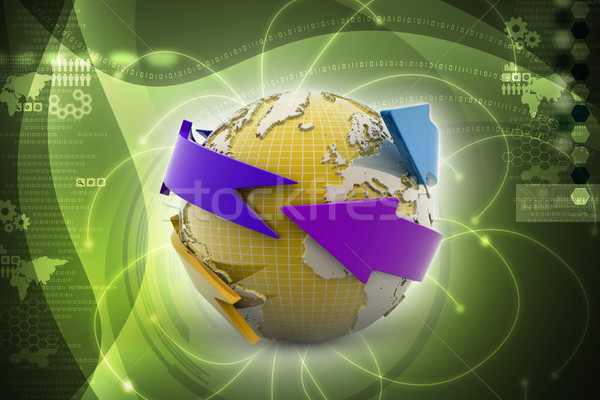 Earth with arrow circle around Stock photo © cuteimage