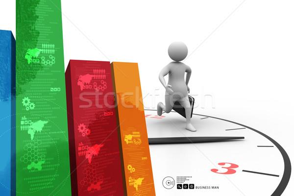 деловой человек работает большой часы человека моде Сток-фото © cuteimage