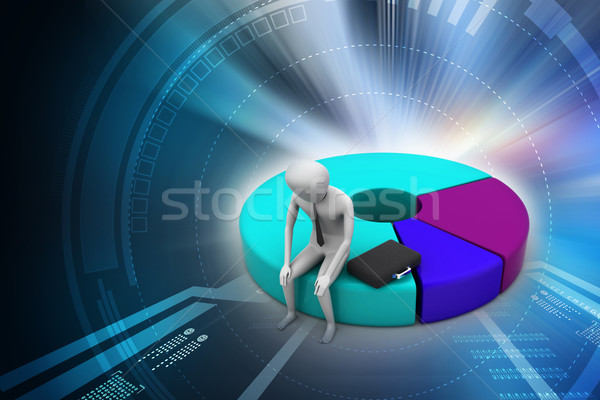 Business man resting on pie chart Stock photo © cuteimage