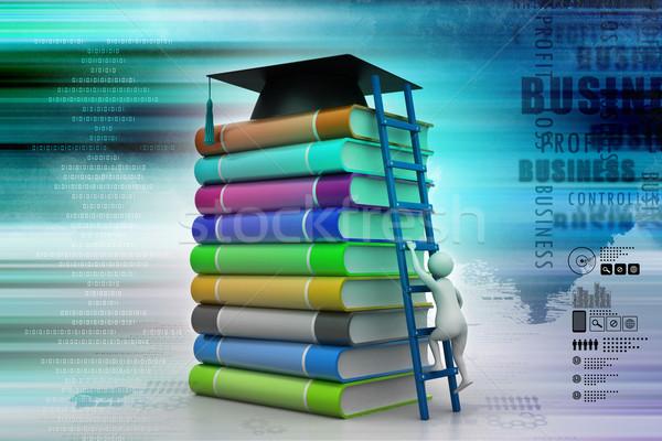 Graduation mortar on top of books Stock photo © cuteimage