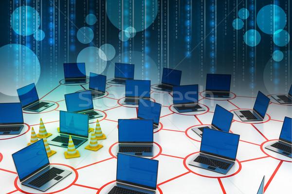 ноутбука сеть движения конус компьютер здании Сток-фото © cuteimage