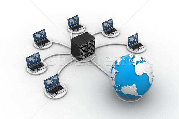 Laptop grande servidor com trabalhar firewall Foto stock © cuteimage