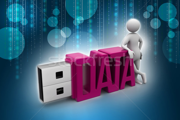 Empresário em pé usb flash drive computador internet Foto stock © cuteimage