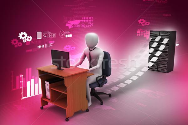 3D çalışma ofis kâğıt adam çalışmak Stok fotoğraf © cuteimage