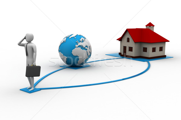 3d man with house Stock photo © cuteimage