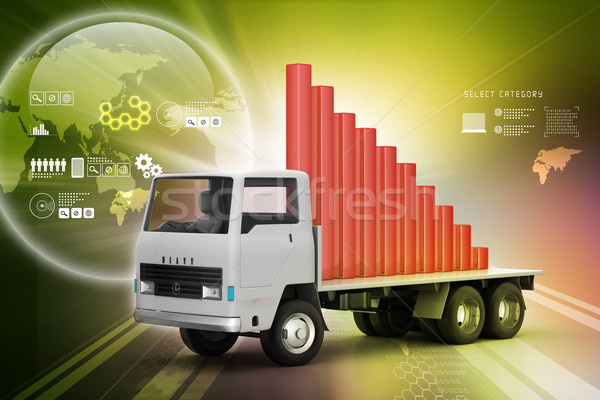 Közlekedés üzleti grafikon teherautó felirat pénzügy pénzügyi Stock fotó © cuteimage