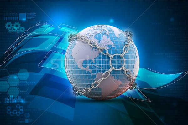 Earth globe close in chain    Stock photo © cuteimage