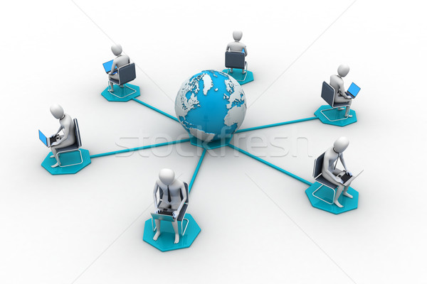 Networking people  with globe Stock photo © cuteimage