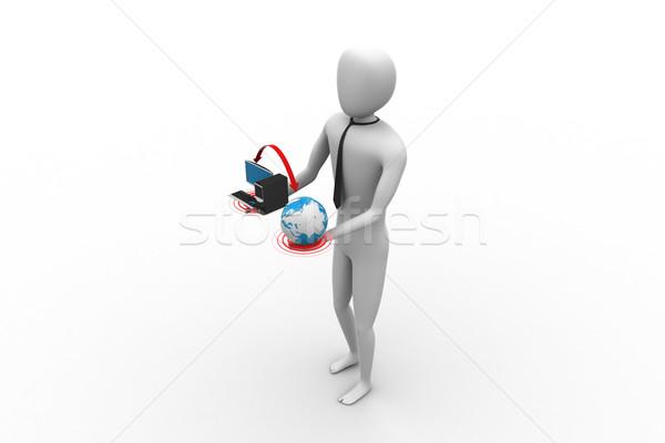 3d человек мира компьютер служба человека заседание Сток-фото © cuteimage