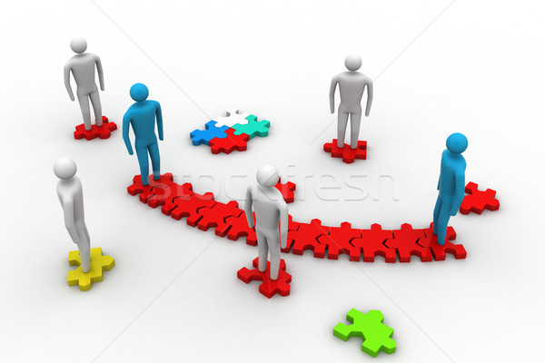 3d people on top of puzzle pieces make a puzzle Stock photo © cuteimage