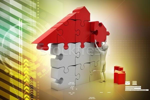 3d man bâtiment maison affaires construction travaux Photo stock © cuteimage