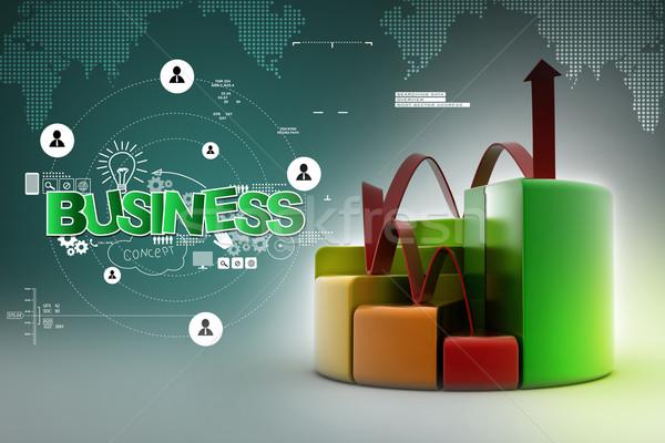 Financieren taart staafdiagram grafieken groeiend pijl Stockfoto © cuteimage