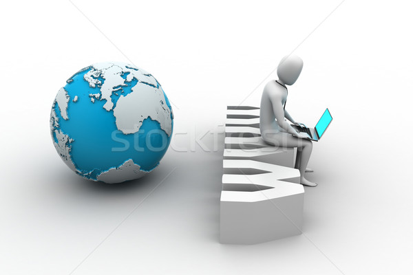 Man with laptop sitting on www label Stock photo © cuteimage