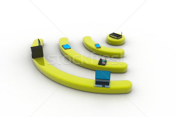 Internet via router on pc, phone, laptop and tablet pc. Stock photo © cuteimage