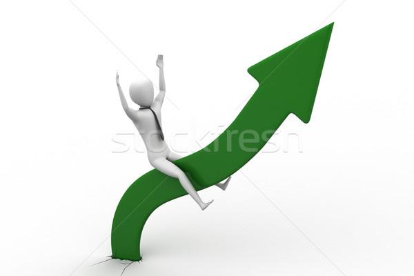 Business man sitting a growing arrow   Stock photo © cuteimage