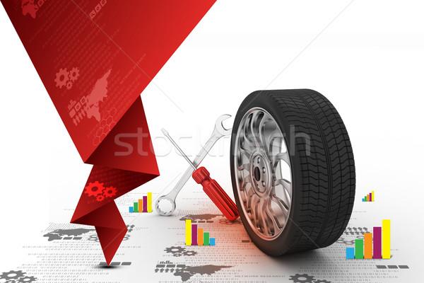3D pneus substituição carro projeto fundo Foto stock © cuteimage