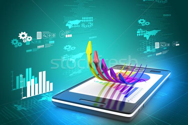 Okostelefon mutat növekedés grafikon kördiagram terv Stock fotó © cuteimage