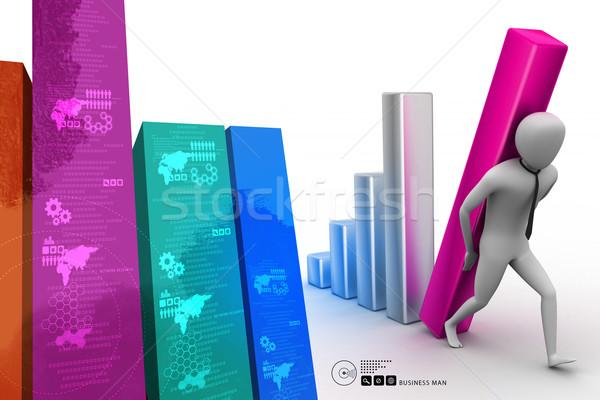 3D бизнесмен большой колонки диаграмма Сток-фото © cuteimage