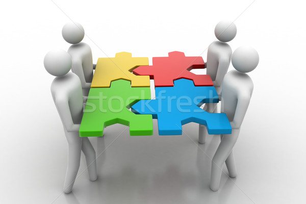 3d people - team with the puzzles in hands Stock photo © cuteimage