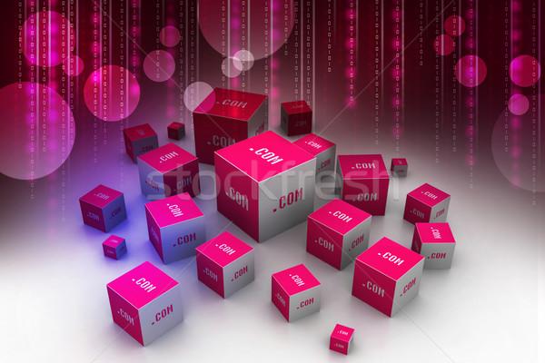 Dot com domain in cubes Stock photo © cuteimage